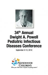 34 th Annual Dwight A. Powell Pediatric Infectious Diseases Conference