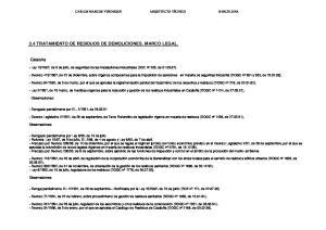 3.4 TRATAMIENTO DE RESIDUOS DE DEMOLICIONES. MARCO LEGAL