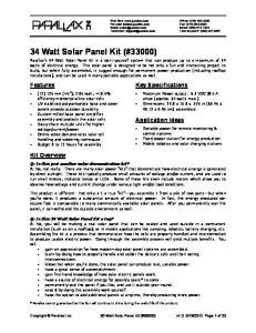 34 Watt Solar Panel Kit (#33000)