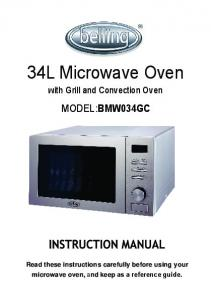 34L Microwave Oven MODEL:BMW034GC. with Grill and Convection Oven