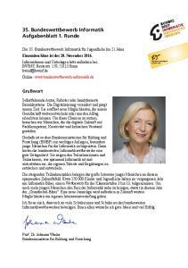 35. Bundeswettbewerb Informatik Aufgabenblatt 1. Runde