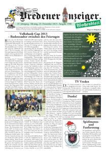 37. Jahrgang Montag, 23. Dezember 2013 Ausgabe 1900