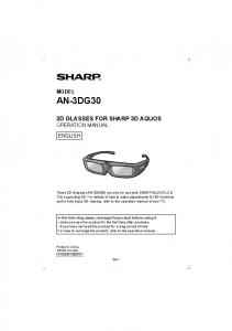3D GLASSES FOR SHARP 3D AQUOS OPERATION MANUAL