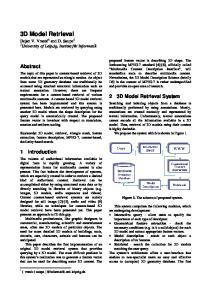 3D Model Retrieval. Abstract. 2 3D Model Retrieval System. 1 Introduction