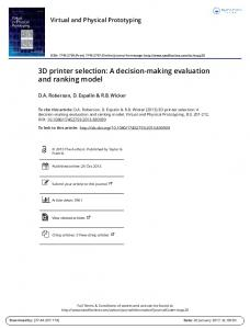 3D printer selection: A decision-making evaluation and ranking model