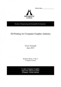 3D Printing for Computer Graphics Industry