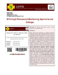 3D Printing & Pharmaceutical Manufacturing: Opportunities and Challenges