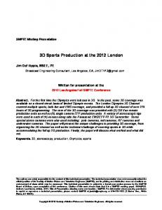 3D Sports Production at the 2012 London