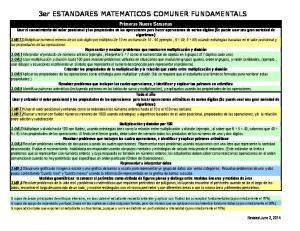 3er ESTANDARES MATEMATICOS COMUNER FUNDAMENTALS