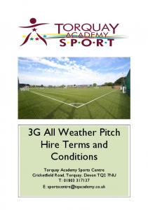 3G All Weather Pitch Hire Terms and Conditions