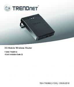 3G Mobile Wireless Router. TEW-716BRG Quick Installation Guide (1)