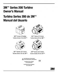 3M Series 200 Turbine Owner s Manual Turbina Series 200 de 3M Manual del Usuario