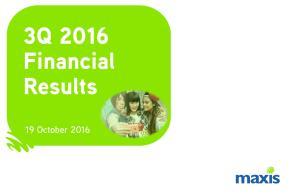 3Q 2016 Financial Results. 19 October 2016