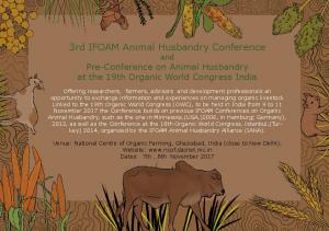 3rd IFOAM Animal Husbandry Conference and Pre-Conference on Animal Husbandry at the 19th Organic World Congress India