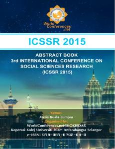 3rd INTERNATIONAL CONFERENCE ON SOCIAL SCIENCE RESEARCH 2015 (ICSSR 2015) INTRODUCTION