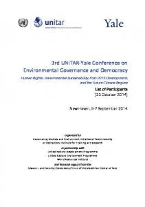 3rd UNITAR-Yale Conference on Environmental Governance and Democracy