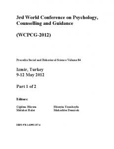 3rd World Conference on Psychology, Counselling and Guidance