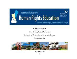 4 6 November Ian and Nancy Turbott Auditorium. University of Western Sydney Parramatta Campus. Sydney, Australia