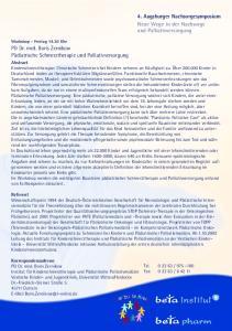 4. Augsburger Nachsorgesymposium Neue Wege in der Nachsorge und Palliativversorgung