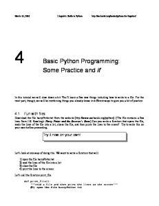 4 Basic Python Programming: