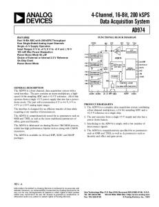 4-Channel, 16-Bit, 200 ksps Data Acquisition System AD974