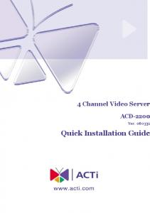 4 Channel Video Server ACD Ver Quick Installation Guide