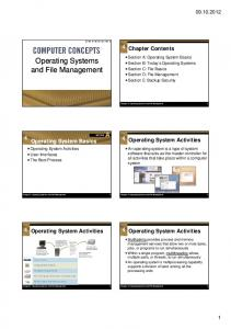 4 Chapter Contents. 4 Operating System Activities
