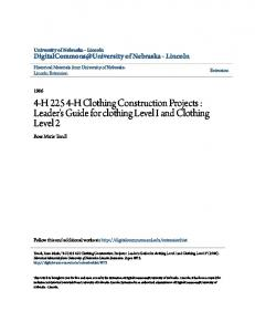 4-H H Clothing Construction Projects : Leader's Guide for clothing Level I and Clothing Level 2