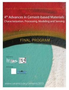 4 th Advances in Cement-based Materials: FINAL Program. Characterization, Processing, Modeling and Sensing