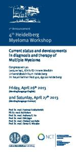 4 th Heidelberg Myeloma Workshop