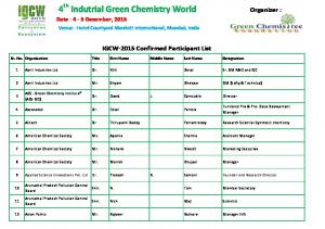 4 th Indutrial Green Chemistry World
