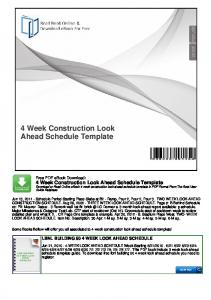 4 Week Construction Look Ahead Schedule Template