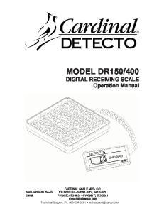 400. DIGITAL RECEIVING SCALE Operation Manual