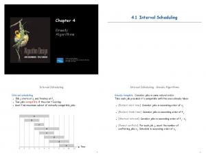 4.1 Interval Scheduling. Chapter 4. Greedy Algorithms. Interval Scheduling: Greedy Algorithms. Interval Scheduling