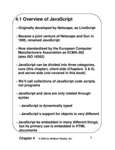 4.1 Overview of JavaScript