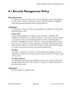 4.1 Records Management Policy