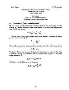 4.1 Summary: Vector calculus so far