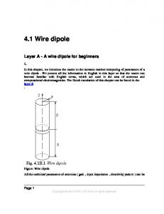 4.1 Wire dipole. Layer A - A wire dipole for beginners