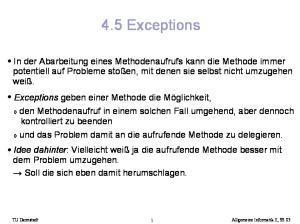 4.5 Exceptions. TU Darmstadt Allgemeine Informatik II, SS 05