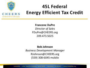 45L Federal Energy Efficient Tax Credit