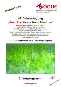 47. Jahrestagung Best Practice Next Practice