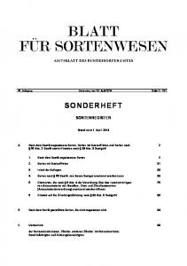 47. Jahrgang Hannover, den 15. April 2014 Seite SONDERHEFT SORTENREGISTER. Stand vom 1. April 2014