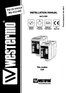 485 INSTALLATION MANUAL