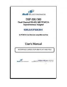 485 PCMCIA Asynchronous Adapter. User's Manual