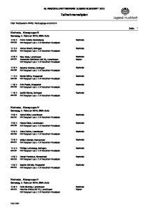 49. REGIONALWETTBEWERB 'JUGEND MUSIZIERT' Teilnehmerzeitplan. Seite 1 Klarinette, Altersgruppe III Samstag, 4. Februar 2012, EMA-Aula