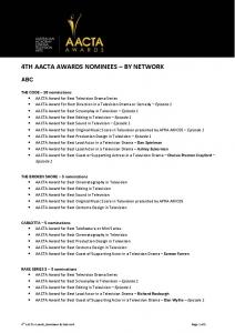 4TH AACTA AWARDS NOMINEES BY NETWORK