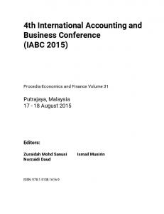 4th International Accounting and Business Conference (IABC 2015)