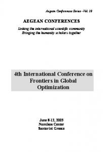 4th International Conference on Frontiers in Global Optimization AEGEAN CONFERENCES