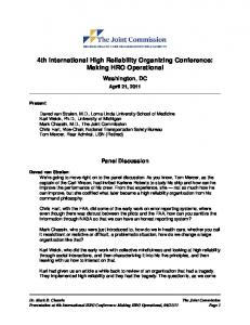 4th International High Reliability Organizing Conference: Making HRO Operational