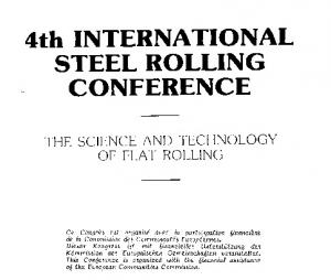 4th INTERNATIONAL STEEL ROLLING CONFERENCE